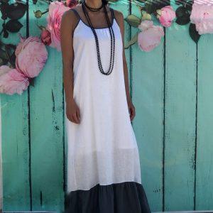 Vestido Branco e Cinza 100% Linho